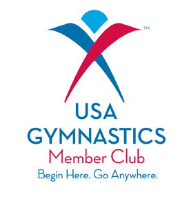 Logo indicating Raleigh School of Gymnastics is a USAG Member Club